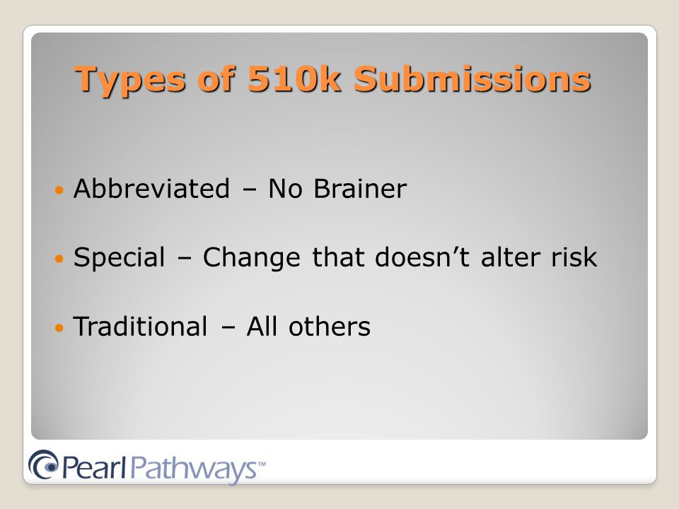 Types of 510k Submissions Abbreviated – No Brainer Special – Change that doesn't alter risk Traditional – All others