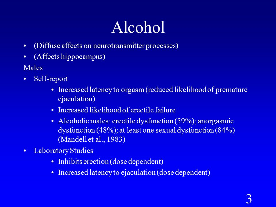 Alcohol sexual dysfunction