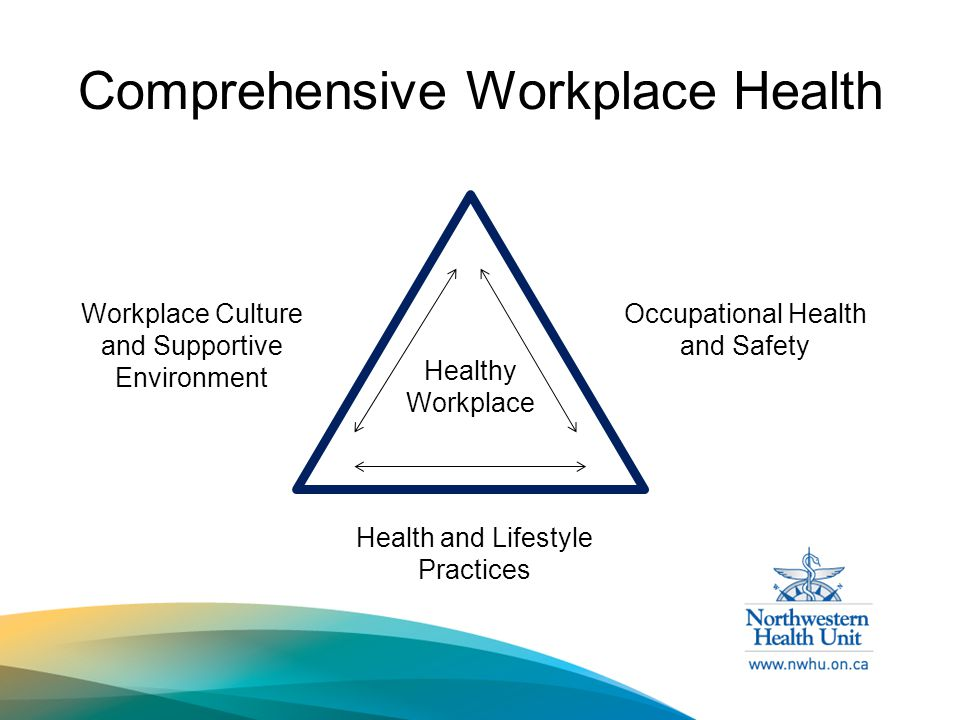Comprehensive Workplace Health Health and Lifestyle Practices Workplace Culture and Supportive Environment Occupational Health and Safety Healthy Workplace