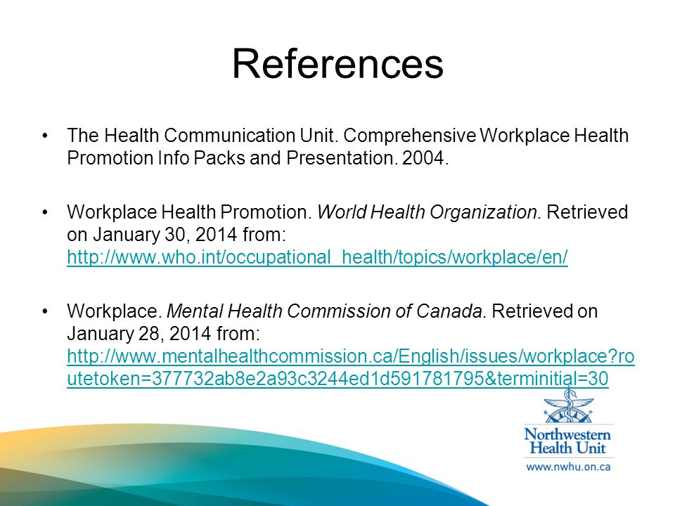References The Health Communication Unit.