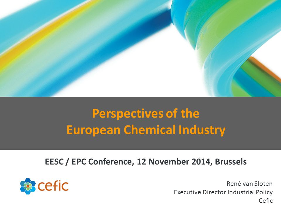 René van Sloten Executive Director Industrial Policy Cefic Perspectives of the European Chemical Industry EESC / EPC Conference, 12 November 2014, Brussels