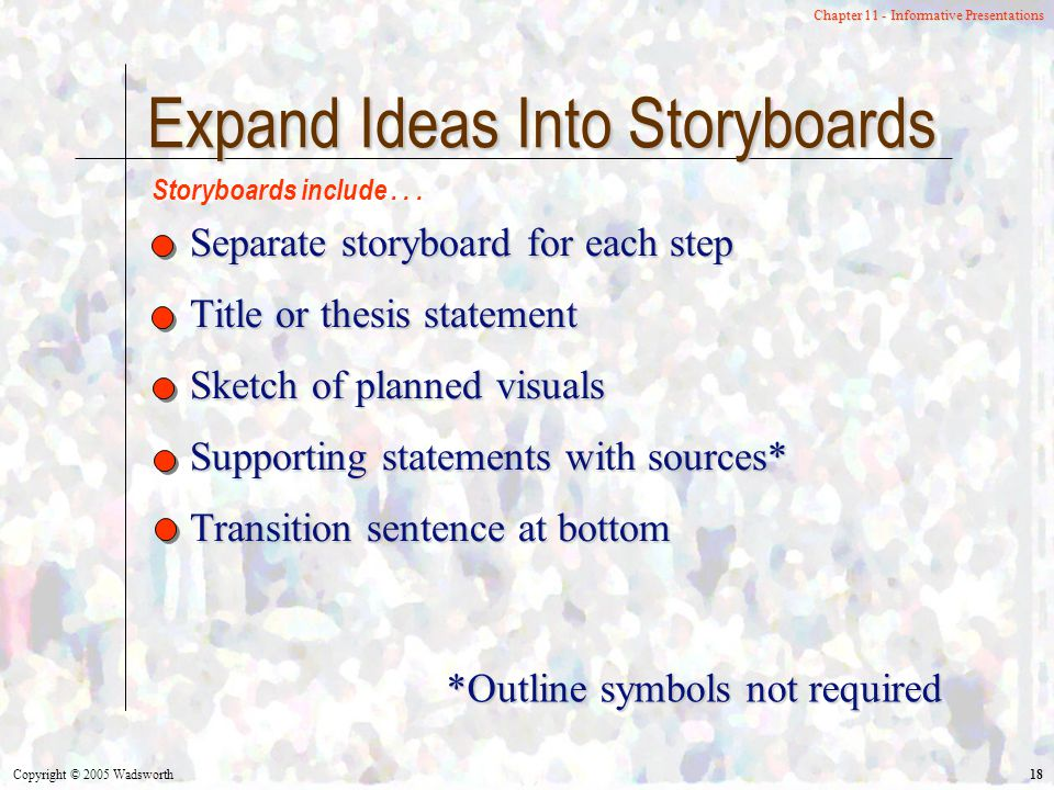 Copyright © 2005 Wadsworth 18 Chapter 11 - Informative Presentations Expand Ideas Into Storyboards Separate storyboard for each step Title or thesis statement Sketch of planned visuals Supporting statements with sources* Transition sentence at bottom Storyboards include...
