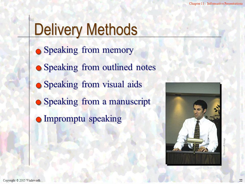 Copyright © 2005 Wadsworth 22 Chapter 11 - Informative Presentations Delivery Methods Speaking from memory Speaking from outlined notes Speaking from visual aids Speaking from a manuscript Impromptu speaking Microsoft Image