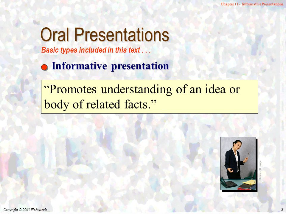 Copyright © 2005 Wadsworth 3 Chapter 11 - Informative Presentations Oral Presentations Informative presentation Microsoft Image Basic types included in this text...