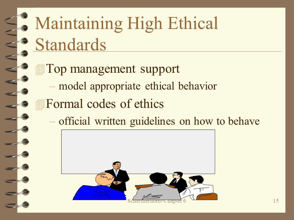 Schermerhorn- Chapter 615 Maintaining High Ethical Standards 4 Top management support –model appropriate ethical behavior 4 Formal codes of ethics –official written guidelines on how to behave