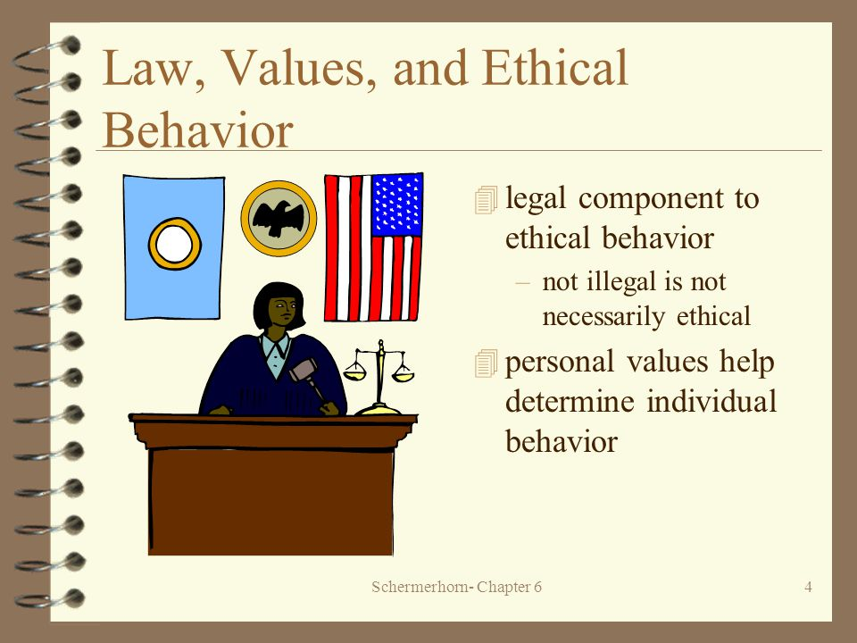 Schermerhorn- Chapter 64 Law, Values, and Ethical Behavior 4 legal component to ethical behavior –not illegal is not necessarily ethical 4 personal values help determine individual behavior