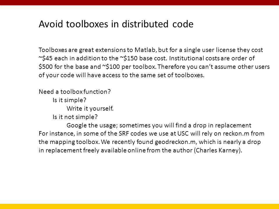 Robert's Rules of Matlab  Disclaimer: My usual processing flow is to