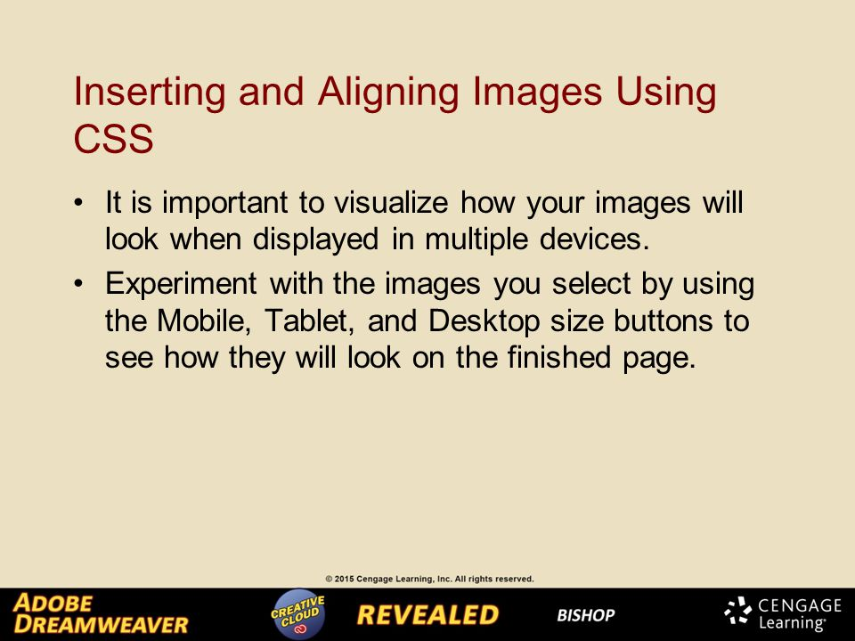 Inserting and Aligning Images Using CSS It is important to visualize how your images will look when displayed in multiple devices.