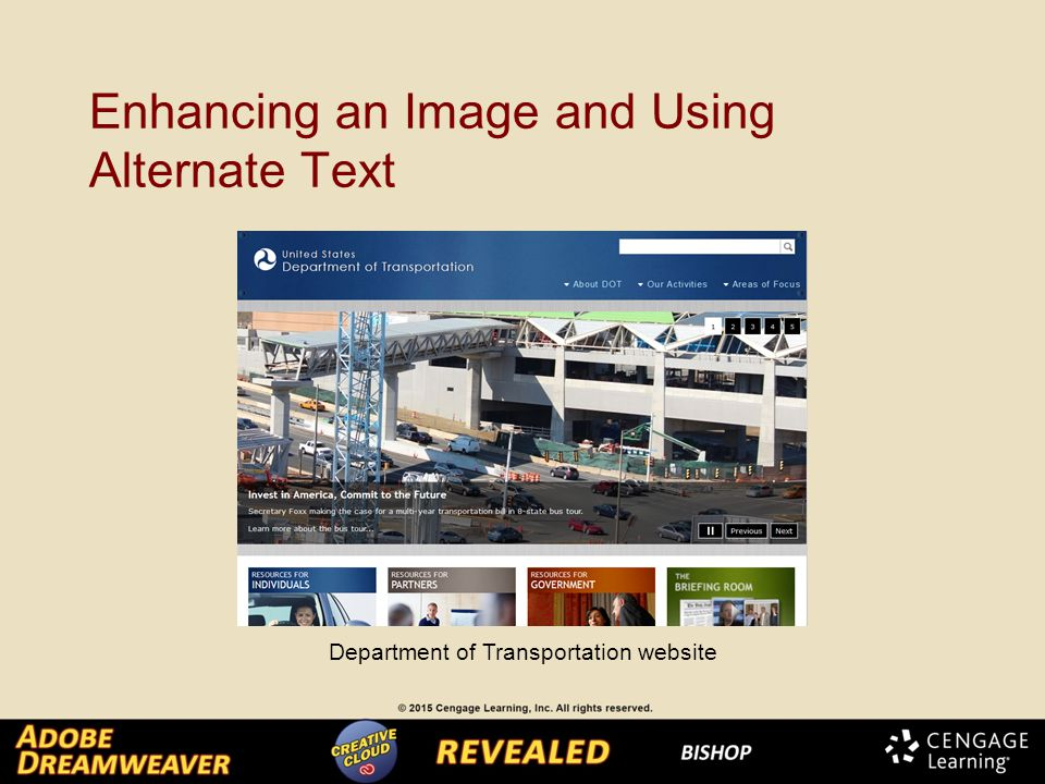 Enhancing an Image and Using Alternate Text Department of Transportation website