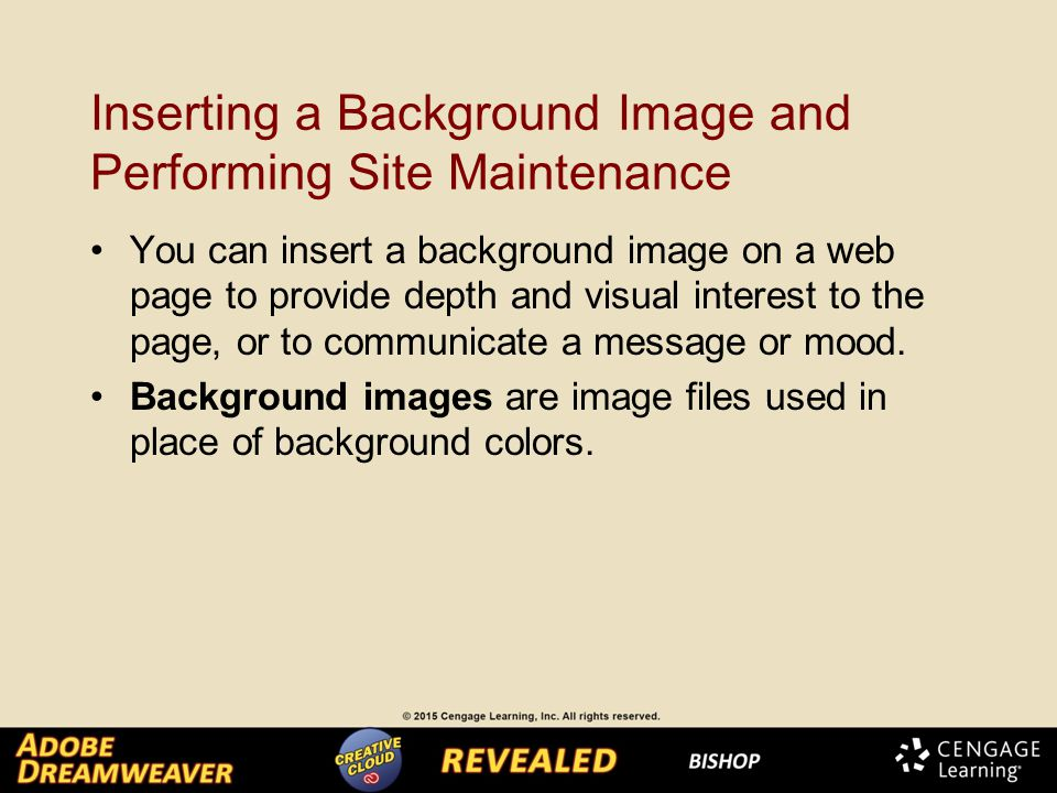 Inserting a Background Image and Performing Site Maintenance You can insert a background image on a web page to provide depth and visual interest to the page, or to communicate a message or mood.