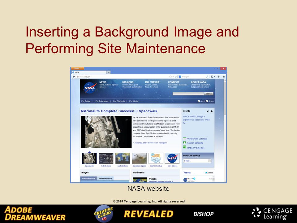 Inserting a Background Image and Performing Site Maintenance NASA website