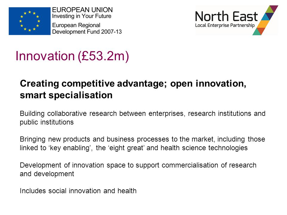 Innovation (£53.2m) Creating competitive advantage; open innovation, smart specialisation Building collaborative research between enterprises, research institutions and public institutions Bringing new products and business processes to the market, including those linked to 'key enabling', the 'eight great' and health science technologies Development of innovation space to support commercialisation of research and development Includes social innovation and health