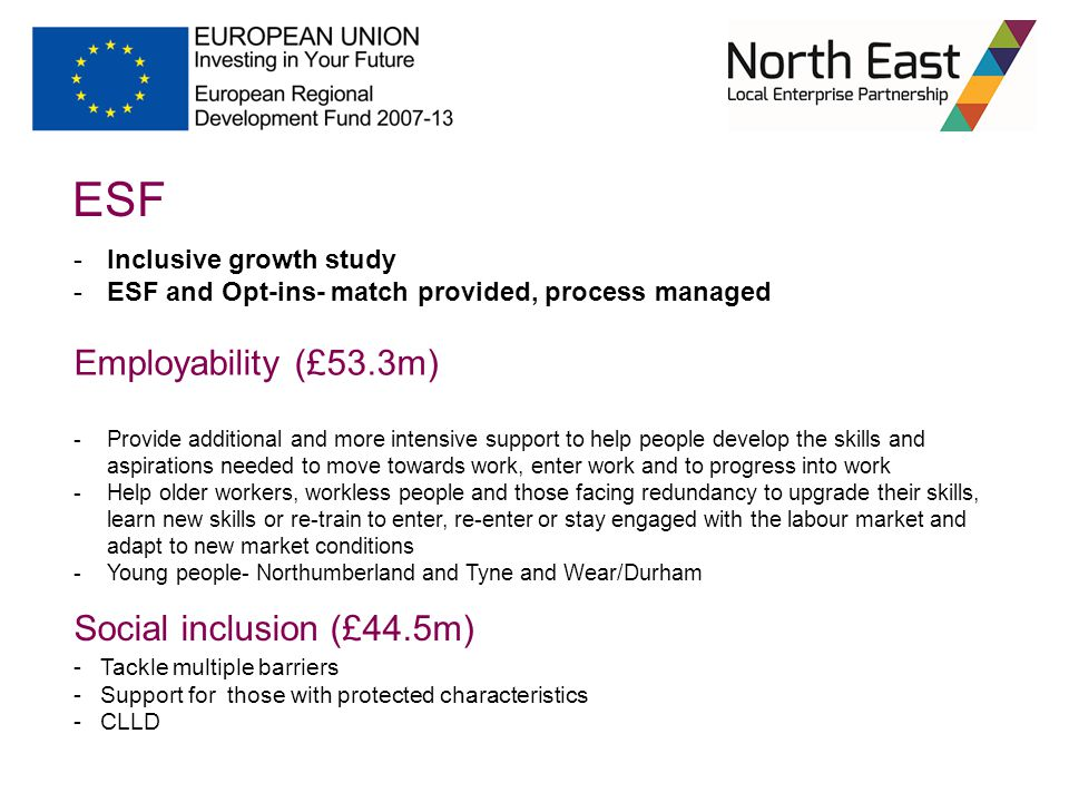 ESF -Inclusive growth study -ESF and Opt-ins- match provided, process managed Employability (£53.3m) -Provide additional and more intensive support to help people develop the skills and aspirations needed to move towards work, enter work and to progress into work -Help older workers, workless people and those facing redundancy to upgrade their skills, learn new skills or re-train to enter, re-enter or stay engaged with the labour market and adapt to new market conditions -Young people- Northumberland and Tyne and Wear/Durham Social inclusion (£44.5m) - Tackle multiple barriers - Support for those with protected characteristics - CLLD