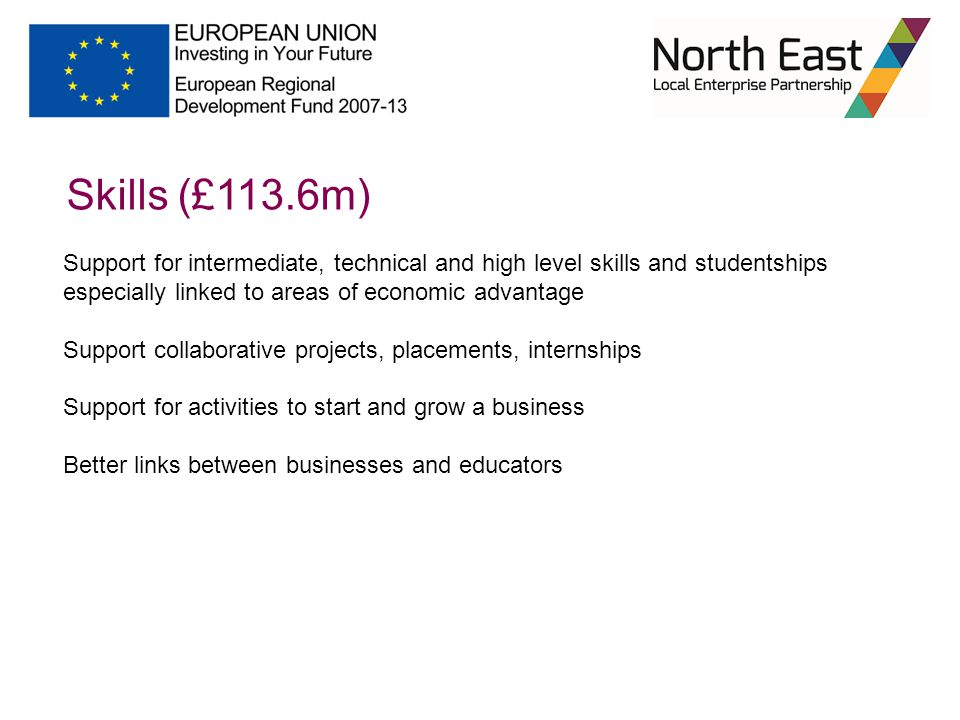 Skills (£113.6m) Support for intermediate, technical and high level skills and studentships especially linked to areas of economic advantage Support collaborative projects, placements, internships Support for activities to start and grow a business Better links between businesses and educators