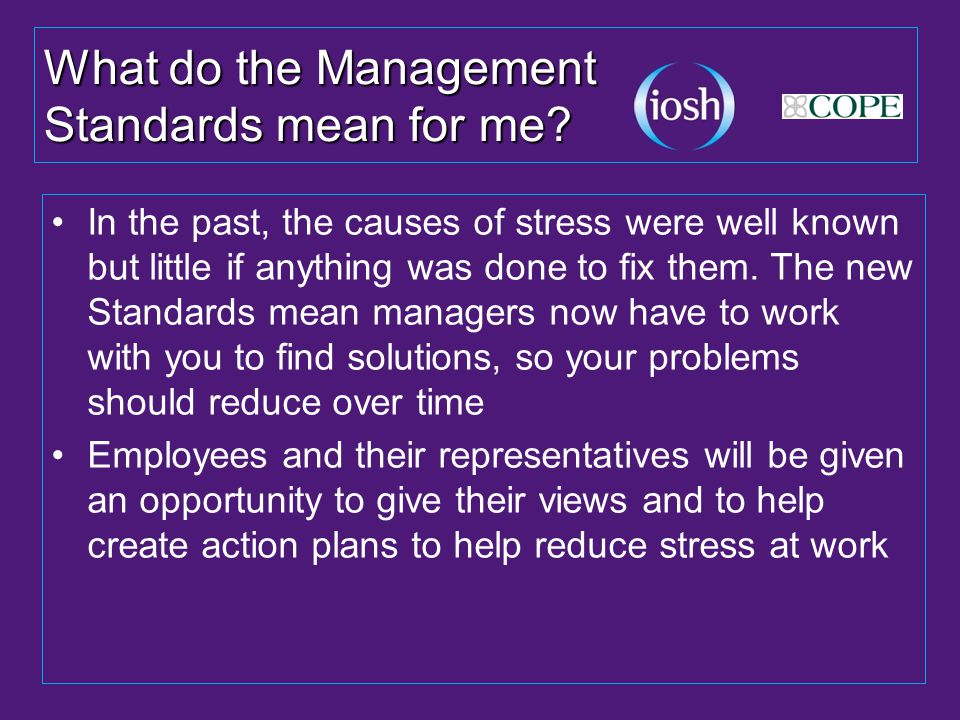 What do the Management Standards mean for me.