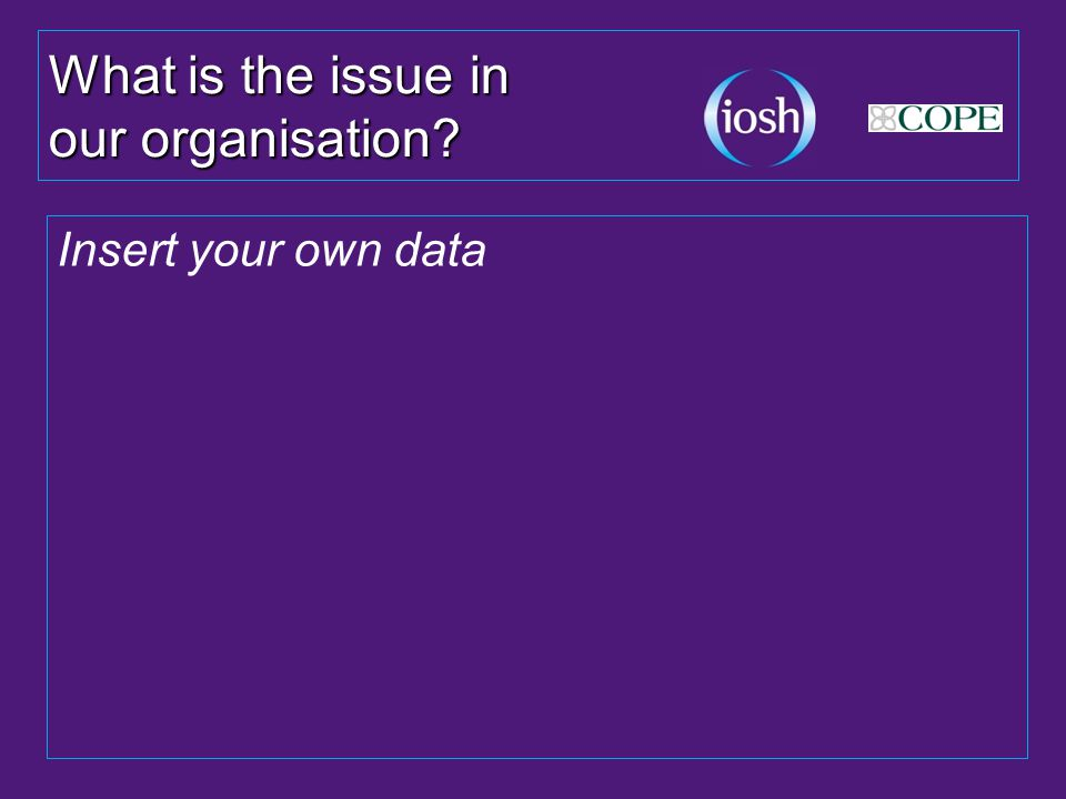 What is the issue in our organisation Insert your own data