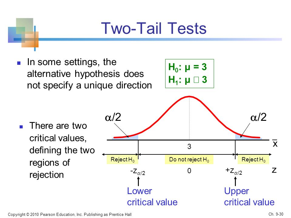 Two-Tail Tests In some settings, the alternative hypothesis does not specify a unique direction Copyright © 2010 Pearson Education, Inc.