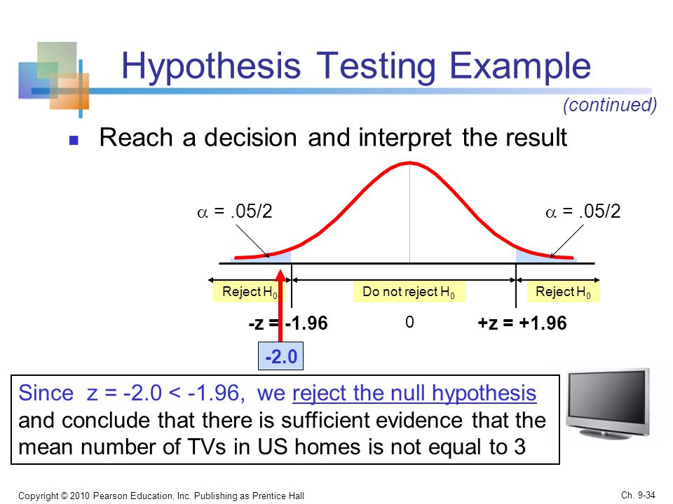 Hypothesis Testing Example Reach a decision and interpret the result Copyright © 2010 Pearson Education, Inc.