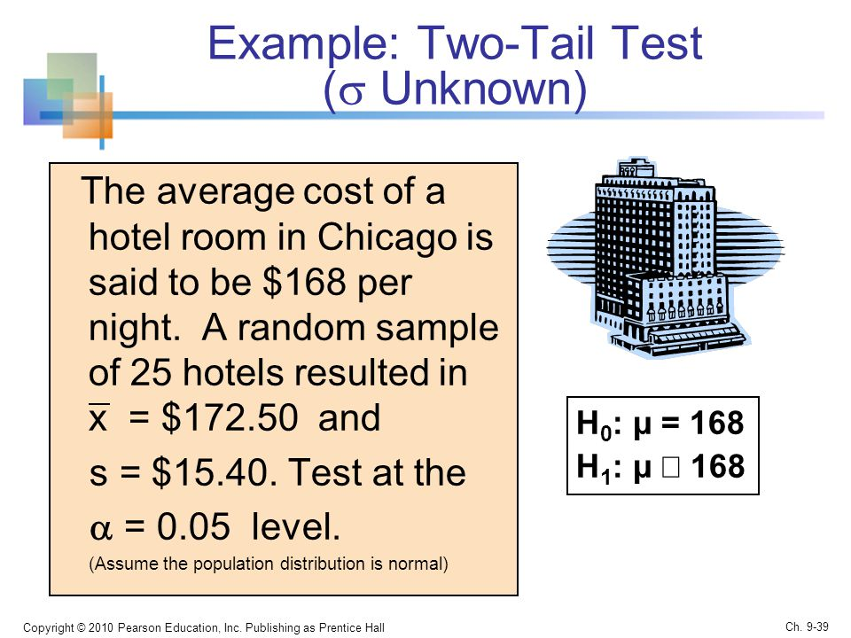 Example: Two-Tail Test (  Unknown) The average cost of a hotel room in Chicago is said to be $168 per night.