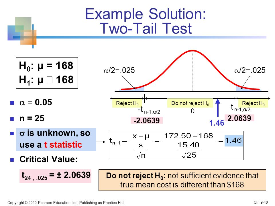 Example Solution: Two-Tail Test  = 0.05 n = 25  is unknown, so use a t statistic Critical Value: t 24,.025 = ± Copyright © 2010 Pearson Education, Inc.