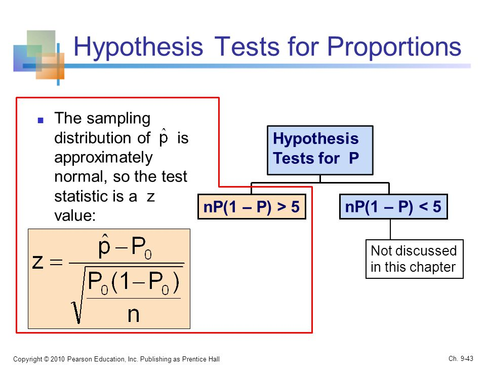 Hypothesis Tests for Proportions The sampling distribution of is approximately normal, so the test statistic is a z value: Copyright © 2010 Pearson Education, Inc.