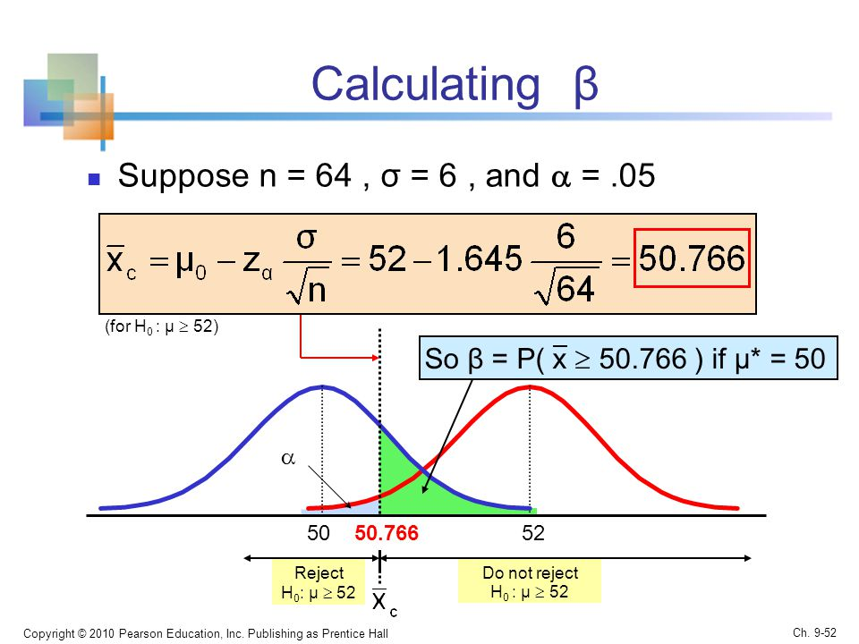 Calculating β Suppose n = 64, σ = 6, and  =.05 Copyright © 2010 Pearson Education, Inc.