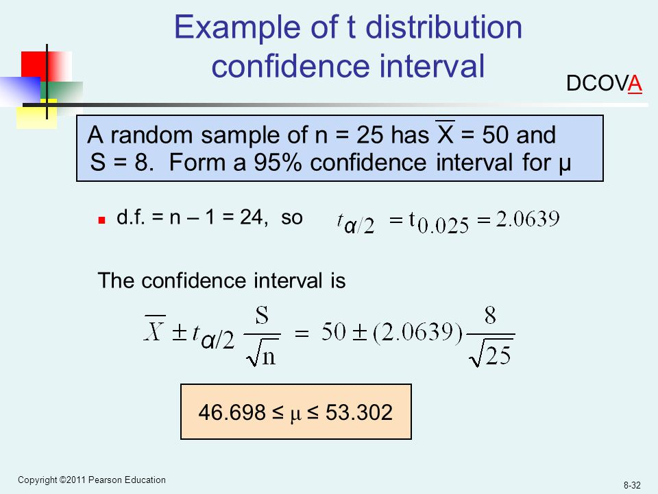 Copyright ©2011 Pearson Education 8-32 Example of t distribution confidence interval A random sample of n = 25 has X = 50 and S = 8.