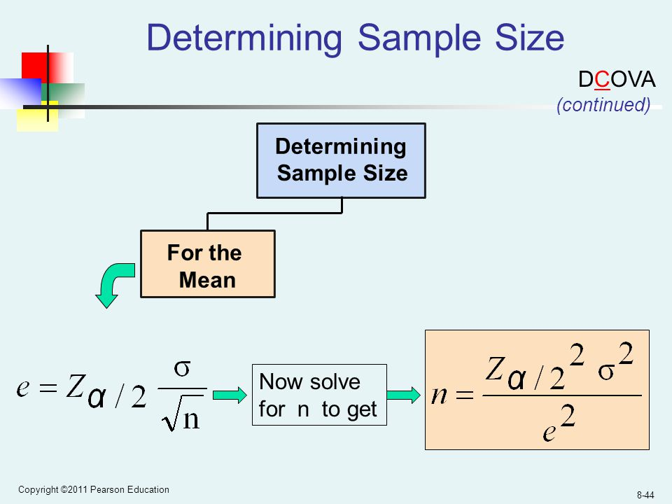 Copyright ©2011 Pearson Education 8-44 Determining Sample Size For the Mean Determining Sample Size (continued) Now solve for n to get DCOVA