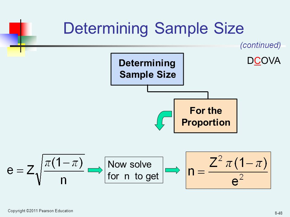Copyright ©2011 Pearson Education 8-48 Determining Sample Size Determining Sample Size For the Proportion Now solve for n to get (continued) DCOVA