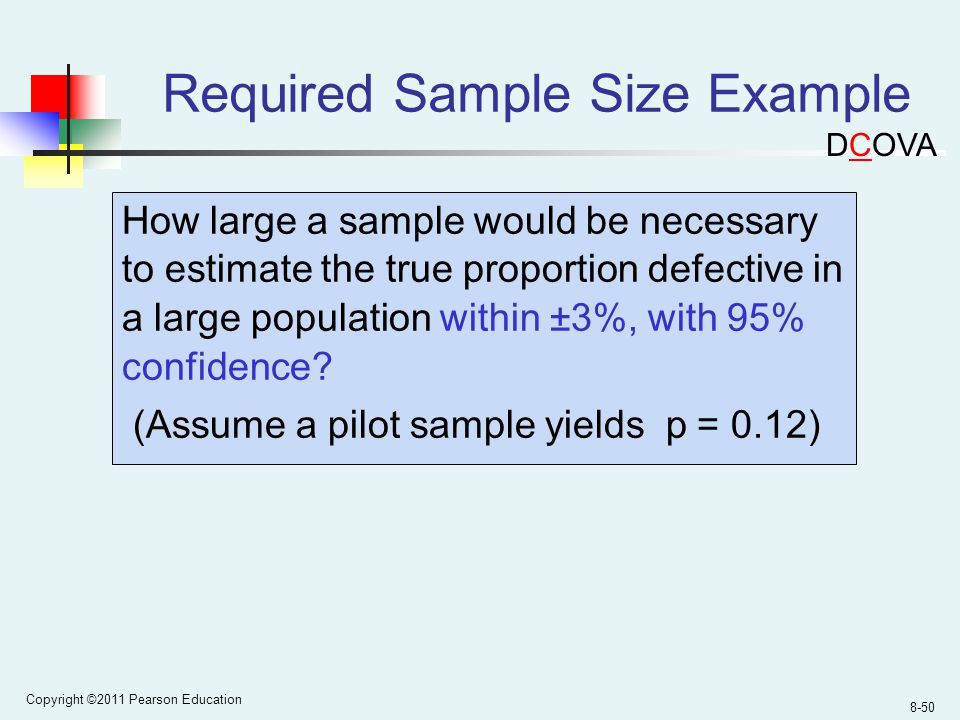 Copyright ©2011 Pearson Education 8-50 Required Sample Size Example How large a sample would be necessary to estimate the true proportion defective in a large population within ±3%, with 95% confidence.