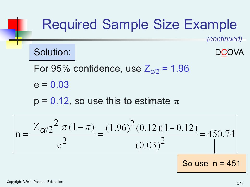 Copyright ©2011 Pearson Education 8-51 Required Sample Size Example Solution: For 95% confidence, use Z α/2 = 1.96 e = 0.03 p = 0.12, so use this to estimate π So use n = 451 (continued) DCOVA