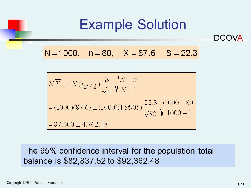 Copyright ©2011 Pearson Education 8-56 Example Solution The 95% confidence interval for the population total balance is $82, to $92, DCOVA
