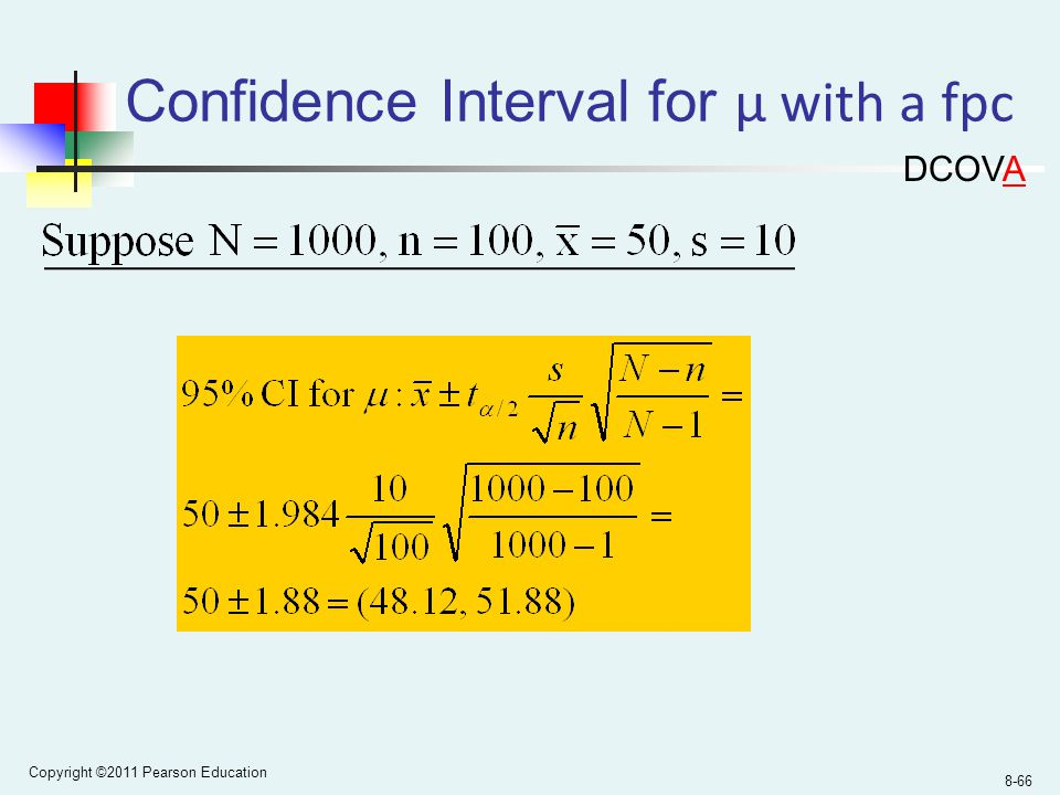 Copyright ©2011 Pearson Education 8-66 Confidence Interval for µ with a fpc DCOVA