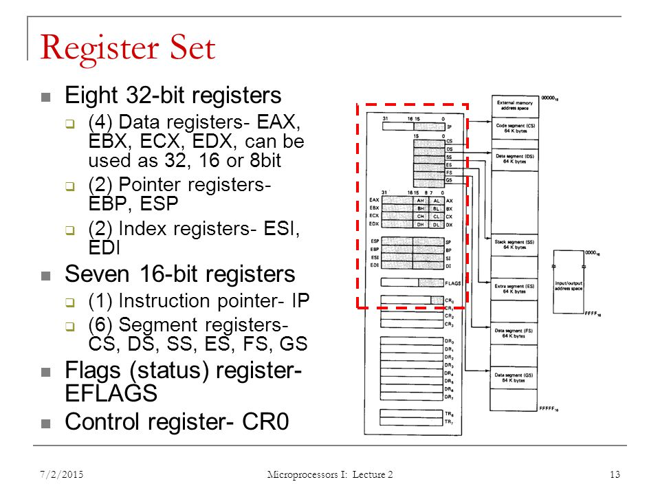 Register Set Eight 32-bit registers  (4) Data registers- EAX, EBX, ECX, EDX, can be used as 32, 16 or 8bit  (2) Pointer registers- EBP, ESP  (2) Index registers- ESI, EDI Seven 16-bit registers  (1) Instruction pointer- IP  (6) Segment registers- CS, DS, SS, ES, FS, GS Flags (status) register- EFLAGS Control register- CR0 7/2/2015 Microprocessors I: Lecture 2 13