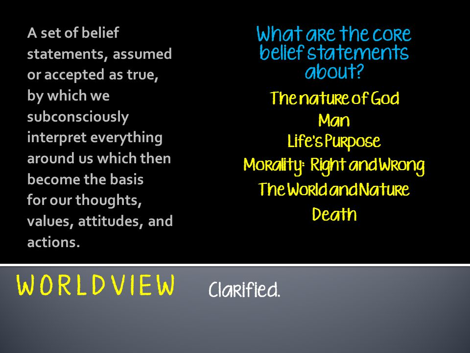 belief statement list A values statement allows a nonprofit to define and codify the shared beliefs that underlie its work you don't have to be a church, synagogue or mosque to benefit from a moral code.
