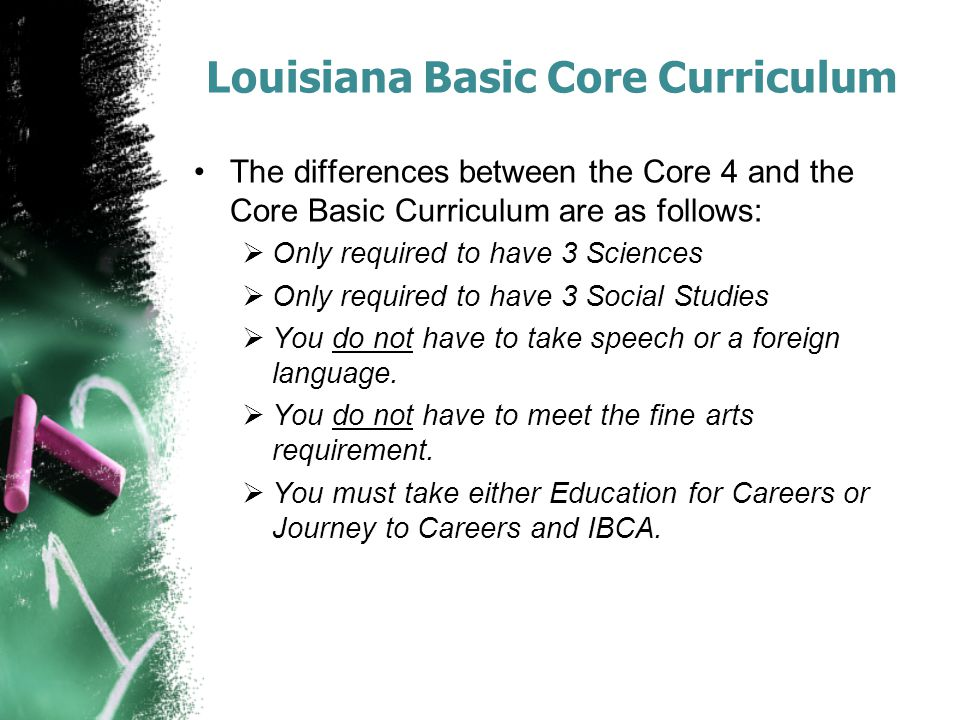 Louisiana Basic Core Curriculum The differences between the Core 4 and the Core Basic Curriculum are as follows:  Only required to have 3 Sciences  Only required to have 3 Social Studies  You do not have to take speech or a foreign language.