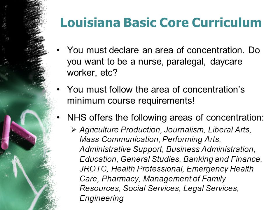 Louisiana Basic Core Curriculum You must declare an area of concentration.