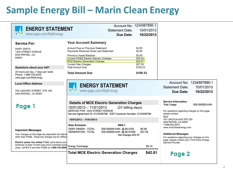 Sample Energy Bill – Marin Clean Energy 4 Page 1 Page 2