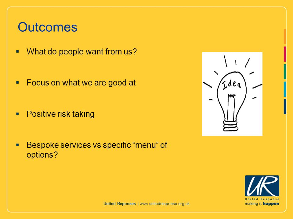 United Reponses |   Marketing: communication & promotion  Making sure colleagues are aware what is coming and how we are responding  Progress for providers and external communication  Working with people and families to develop our work  Getting accessible information right for people