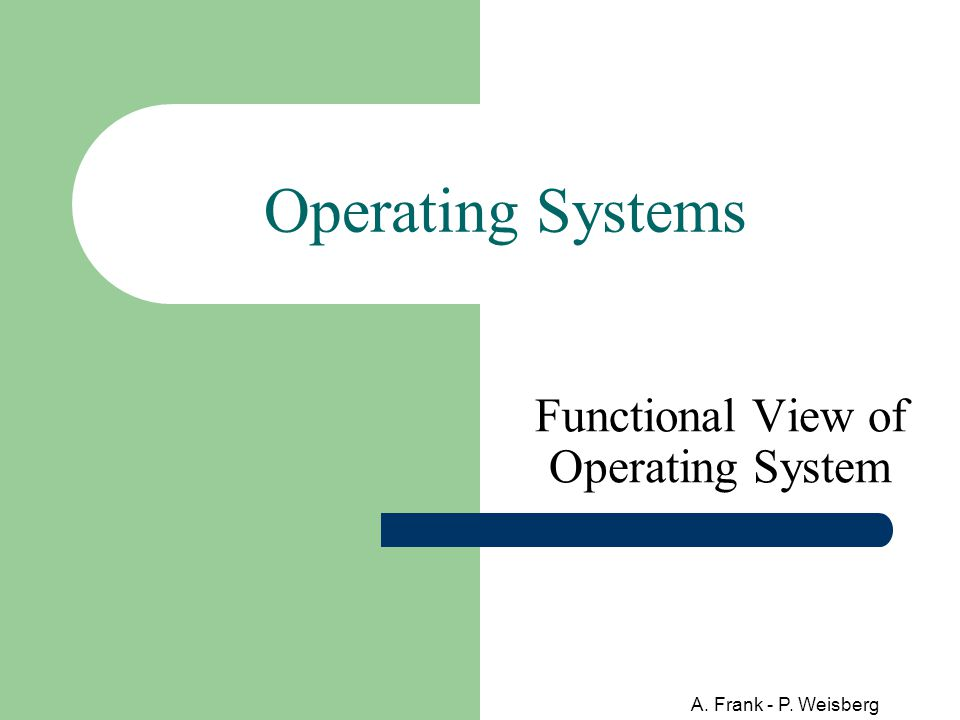 A. Frank - P. Weisberg Operating Systems Functional View of Operating System