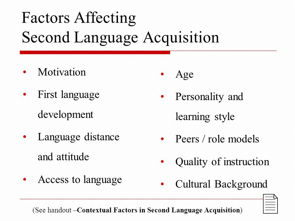 Factors Affecting Second Language Acquisition Motivation First language development Language distance and attitude Access to language Age Personality and learning style Peers / role models Quality of instruction Cultural Background (See handout –Contextual Factors in Second Language Acquisition)