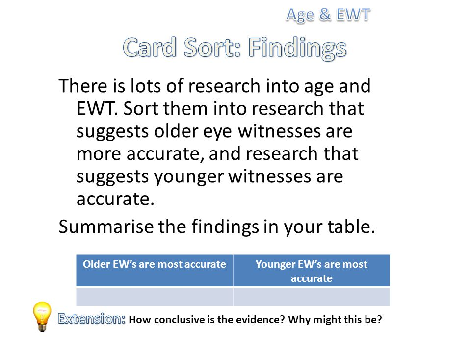 There is lots of research into age and EWT.