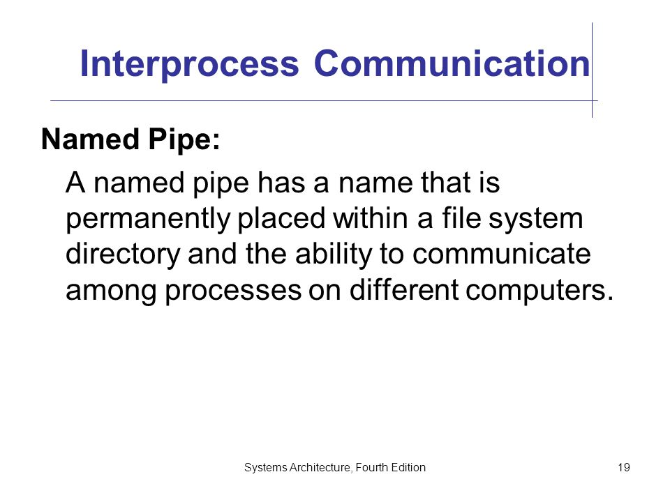 Systems Architecture, Fourth Edition19 Interprocess Communication Named Pipe: A named pipe has a name that is permanently placed within a file system directory and the ability to communicate among processes on different computers.