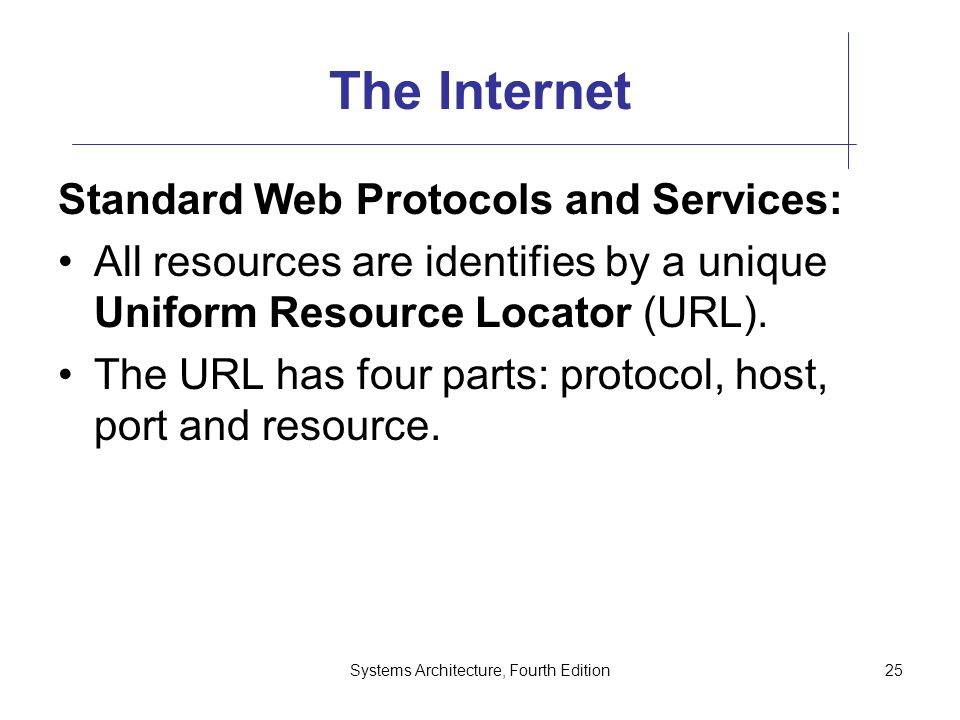 Systems Architecture, Fourth Edition25 The Internet Standard Web Protocols and Services: All resources are identifies by a unique Uniform Resource Locator (URL).
