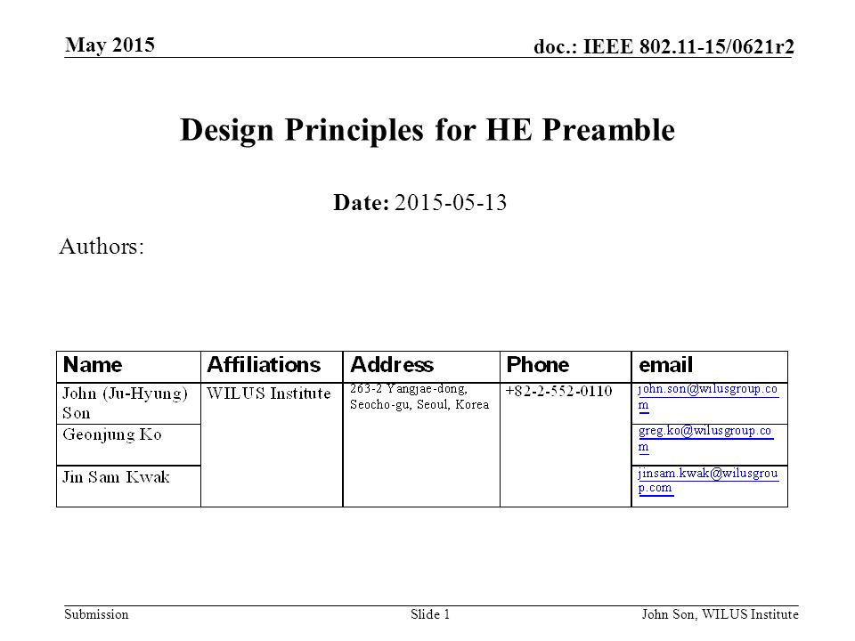 Submission doc.: IEEE /0621r2 May 2015 John Son, WILUS InstituteSlide 1 Design Principles for HE Preamble Date: Authors: