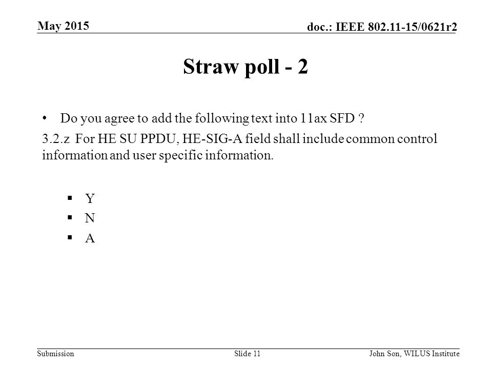 Submission doc.: IEEE /0621r2 Straw poll - 2 Do you agree to add the following text into 11ax SFD .