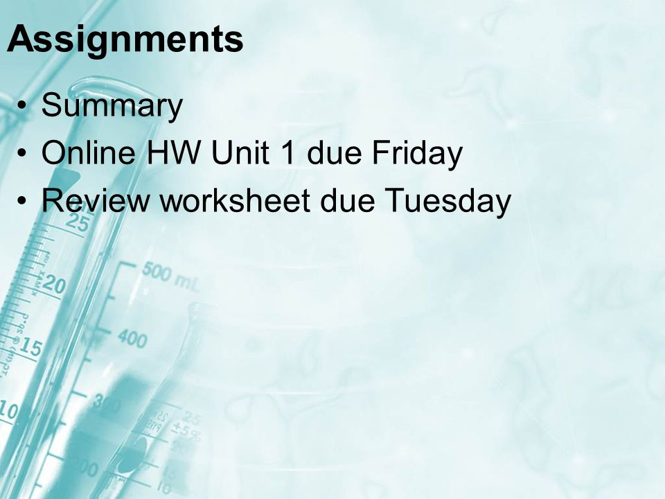 Assignments Summary Online HW Unit 1 due Friday Review worksheet due Tuesday