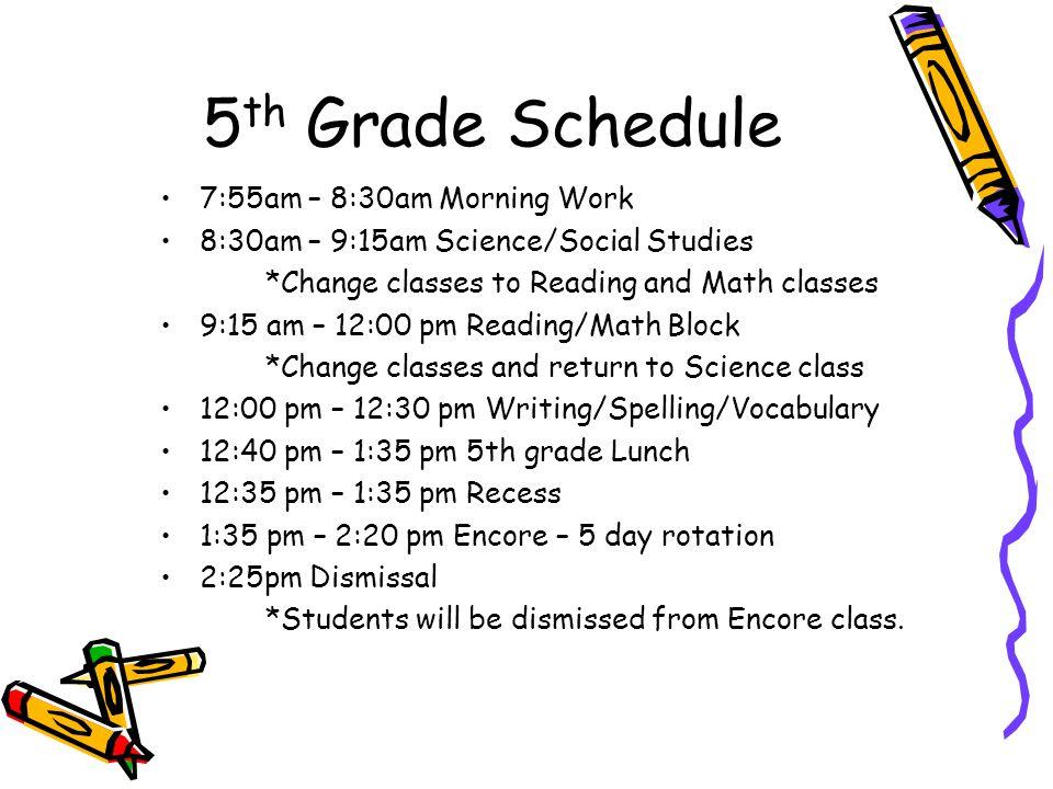 5 th Grade Curriculum Night  5 th Grade Schedule 7:55am – 8