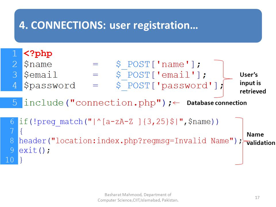 Database Connectivity in PHP Basharat Mahmood, Department of