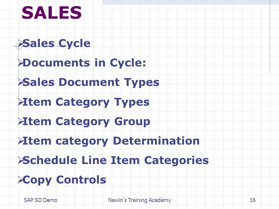 SAP SD DemoNawin's Training Acadamy1  OVERVIEW ON SAP SALES